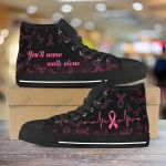 Breast cancer you'll never walk alone Unisex High Top Canvas Shoes