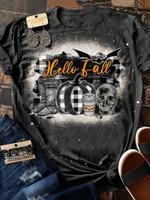 Hello Fall Print Short Sleeve T-shirt