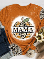 Mama Fall Pumpkin Print Short Sleeve T-shirt