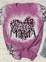 Blessed Mama Print Short Sleeve T-shirt