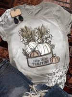 Farm Fresh Pumpkins Print Short Sleeve T-shirt