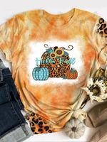 Hello Fall Pumpkin Tie Dye Print Short Sleeve T-shirt