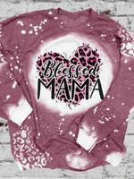 Blessed MAMA Print Long Sleeve Sweatshirt
