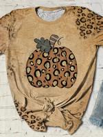 Fall Leopard Pumpkin Print Short Sleeve T-shirt