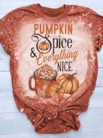 Pumpkin Spice & Everything Nice Print Short Sleeve T-shirt