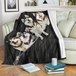 Smiling Husky Gifts For Dog Owner Fleece Blanket
