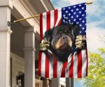 Rottweiler American 4th Of July Gift For Dog Owner House Flag