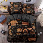 Halloween Fire Pumskin Sweater Printed Bedding Set Bedroom Decor