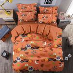 Halloween Owl Orange Background Printed Bedding Set Bedroom Decor