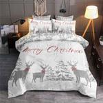 Merry Christmas Deer Snow Winter Bedding Set Bedroom Decor