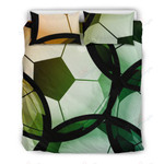 Love Soccer Green Art Printed Bedding Set Bedroom Decor