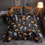 Halloween Skeleton Dancing Printed Bedding Set Bedroom Decor