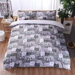 Multi Face Cat Printed Bedding Set Bedroom Decor