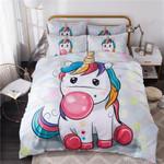 Lovely Unicorn Blowing Gum Bedding Set Bedroom Decor
