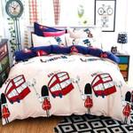 London Red Bus Printed Bedding Set Bedroom Decor