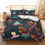 Flying Hummingbird Butterfly Printed Bedding Set Bedroom Decor