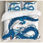 Legend Dragon Blue Cartoon Art Bedding Set Bedroom Decor