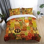 Hippie Peace Symbol Young And Free Printed Bedding Set Bedroom Decor