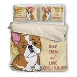 Keep Calm And Love French Bulldog Bedding Set Bedroom Decor