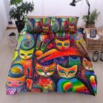 Colorful Cat Pattern Bedding Set Bedroom Decor