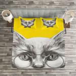 Cute Cat Wear Glasses Bedding Set Bedroom Decor