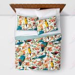 Colorful Hummingbirds And Flowers Printed Bedding Set Bedroom Decor