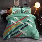Crane Bird Flying Stripes Printed Bedding Set Bedroom Decor