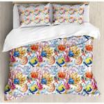 Colorful Ocean Animals Printed Bedding Set Bedroom Decor