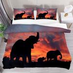 Elephant Sunset  Printed Bedding Set Bedroom Decor
