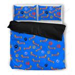 Dachshund Dog Paw Blue Printed Bedding Set Bedroom Decor