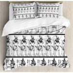Egyptian Black And White Printed Bedding Set Bedroom Decor
