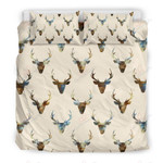 Collection Deer Head Pattern Printed Bedding Set Bedroom Decor