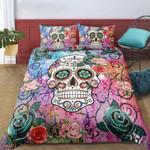 Decorative Skull  Flower Pattern Printed Bedding Set Bedroom Decor