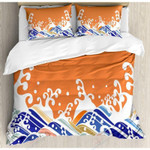 Colorful Waves Orange Backdrop Printed Bedding Set Bedroom Decor