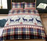 Deer Christmas Snowflake Plaid Printed Bedding Set Bedroom Decor