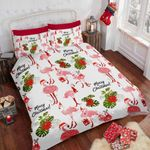 Christmas Flamingo And Tropical Green Leaf Bedding Set Bedroom Decor