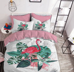 Flamingo And Tropical Green Leaves Printed Bedding Set Bedroom Decor
