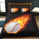 Flame Baseball Ball Printed Bedding Set Bedroom Decor