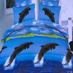 Dolphin Fresh Water Printed Bedding Set Bedroom Decor