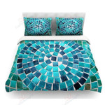 Circular Blue Printed Bedding Set Bedroom Decor