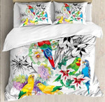 Colorful Parrot Flower Printed Bedding Set Bedroom Decor