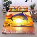 Dolphin Jumping On Water Sunrise Printed Bedding Set Bedroom Decor