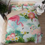 Flamingo And Green Tropical Leaf Printed Bedding Set Bedroom Decor