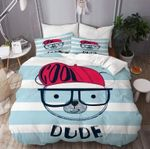 Cool Bear Blue Stripes Dude Printed Bedding Set Bedroom Decor