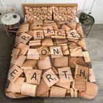 Crossword Peace On Earth Printed Bedding Set Bedroom Decor
