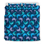 Dolphin Pattern Blue And Purple Printed Bedding Set Bedroom Decor