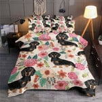 Dachshund And Pink Flower Pattern Printed Bedding Set Bedroom Decor
