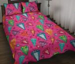 Diamond Colorful Pink Background Printed Bedding Set Bedroom Decor