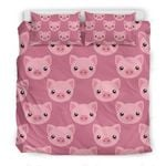 Cute Cartoon Pig Face Printed Bedding Set Bedroom Decor