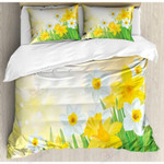 Daffodils Yellow And White Flower Garden Printed Bedding Set Bedroom Decor